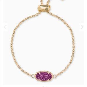 Elaina Gold Adjustable Chain Bracelet In Amethyst
